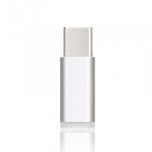 Ультракомпактный переходник Micro USB/USB type C (симметричный) текстура Металлик Серый