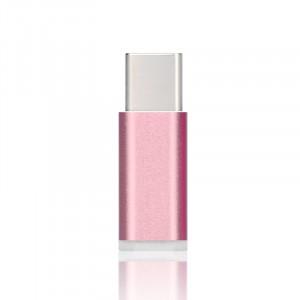 Ультракомпактный переходник USB type C - Micro USB текстура Металлик Розовый