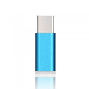 Ультракомпактный переходник USB type C - Micro USB текстура Металлик Голубой