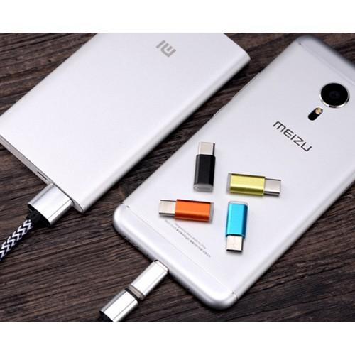 Ультракомпактный переходник USB type C - Micro USB текстура Металлик Желтый