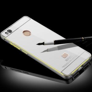 Двухкомпонентный чехол с металлическим бампером с золотой окантовкой и поликарбонатной накладкой с зеркальным напылением для Xiaomi Mi4S