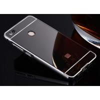 Гибридный двухкомпонентный чехол с металлическим бампером и поликарбонатной крышкой с зеркальным покрытием для Xiaomi Mi4S Черный