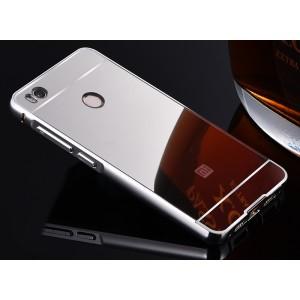 Гибридный двухкомпонентный чехол с металлическим бампером и поликарбонатной крышкой с зеркальным покрытием для Xiaomi Mi4S Белый