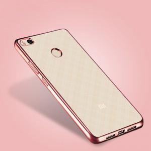 Силиконовый матовый полупрозрачный чехол с металлическим напылением для Xiaomi Mi4S Розовый