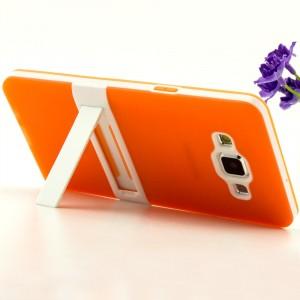 Двухкомпонентный силиконовый чехол с пластиковым каркасом-подставкой для Samsung Galaxy A5 Оранжевый