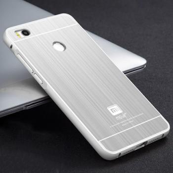 Двухкомпонентный чехол с металлическим бампером и поликарбонатной накладкой текстура Металл для Xiaomi Mi4S
