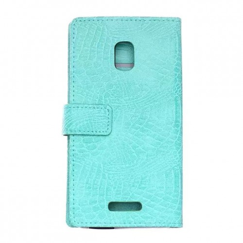 Чехол портмоне подставка с защелкой текстура Крокодил для Alcatel OneTouch Pop Star 3G 5022d Голубой