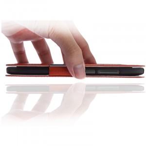 Кожаный чехол флип подставка на пластиковой основе с окном вызова и свайпом  для OnePlus 2
