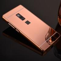 Гибридный двухкомпонентный чехол с металлическим бампером и поликарбонатной крышкой с зеркальным покрытием для OnePlus 2 Розовый