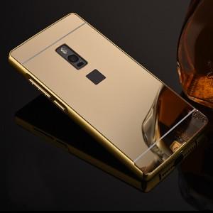 Гибридный двухкомпонентный чехол с металлическим бампером и поликарбонатной крышкой с зеркальным покрытием для OnePlus 2