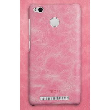 Пластиковый чехол с текстурным покрытием Кожа для Xiaomi RedMi 3 Pro/3S Розовый