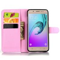 Чехол портмоне подставка на силиконовой основе с магнитной защелкой для Samsung Galaxy J7 (2016) Розовый
