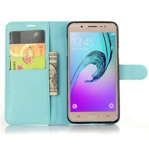 Чехол портмоне подставка на силиконовой основе с магнитной защелкой для Samsung Galaxy J7 (2016) Голубой