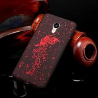 Пластиковый матовый дизайнерский чехол с голографическим принтом для Meizu M3 Note Красный