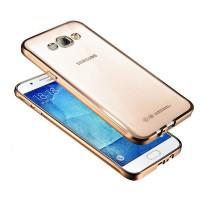 Силиконовый матовый полупрозрачный чехол с покрытием Металлик для Samsung Galaxy J7 (2016) Бежевый