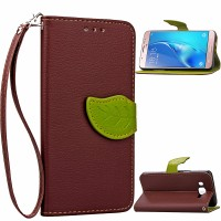 Текстурный чехол подставка портмоне с дизайнерской застежкой для Samsung Galaxy J7 (2016) Коричневый