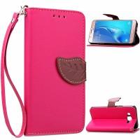Текстурный чехол подставка портмоне с дизайнерской застежкой для Samsung Galaxy J7 (2016) Пурпурный