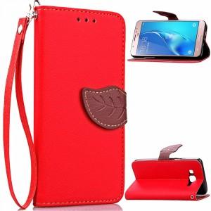 Текстурный чехол подставка портмоне с дизайнерской застежкой для Samsung Galaxy J7 (2016) Красный