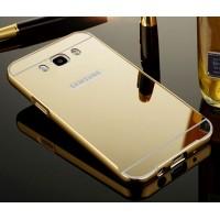 Гибридный двухкомпонентный чехол с металлическим бампером и поликарбонатной крышкой с зеркальным покрытием для Samsung Galaxy J7 (2016) Бежевый
