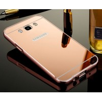 Гибридный двухкомпонентный чехол с металлическим бампером и поликарбонатной крышкой с зеркальным покрытием для Samsung Galaxy J7 (2016) Розовый
