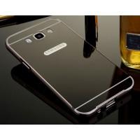 Гибридный двухкомпонентный чехол с металлическим бампером и поликарбонатной крышкой с зеркальным покрытием для Samsung Galaxy J7 (2016) Черный