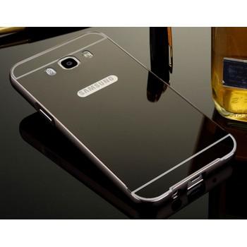 Гибридный двухкомпонентный чехол с металлическим бампером и поликарбонатной крышкой с зеркальным покрытием для Samsung Galaxy J7 (2016)