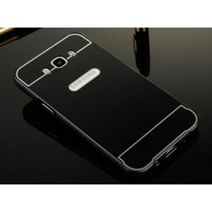 Двухкомпонентный чехол с металлическим бампером и поликарбонатной накладкой для Samsung Galaxy J7 (2016) Черный