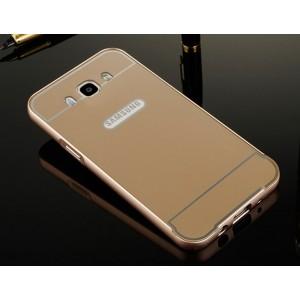 Двухкомпонентный чехол с металлическим бампером и поликарбонатной накладкой для Samsung Galaxy J7 (2016) Бежевый