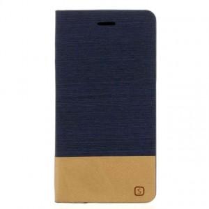 Чехол флип подставка на силиконовой основе с отделением для карты и тканевым покрытием для Samsung Galaxy J7 (2016) Синий