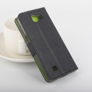 Текстурный чехол портмоне подставка на силиконовой основе с защелкой для LG K4 Черный