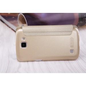 Чехол флип на пластиковой матовой нескользящей основе с окном вызова для LG K4