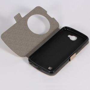 Чехол флип подставка на силиконовой основе с круглым окном вызова для LG K4 Черный