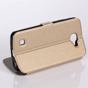 Чехол флип подставка на силиконовой основе с круглым окном вызова для LG K4