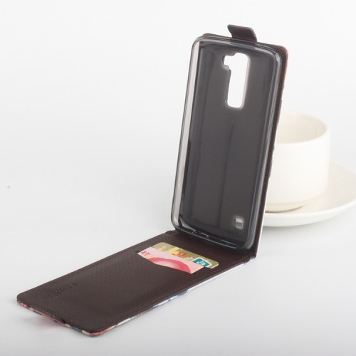 Чехол вертикальная книжка на силиконовой основе с отделением для карт с магнитной застежкой с принтом для LG K8