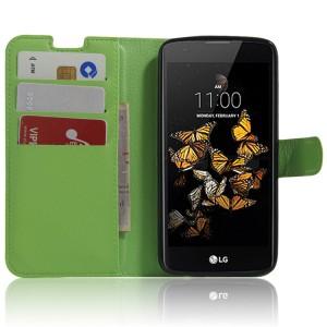 Чехол портмоне подставка с защелкой для LG K8 Зеленый
