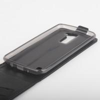 Чехол вертикальная книжка на силиконовой основе с магнитной застежкой с отделением для карт для LG K8 Черный