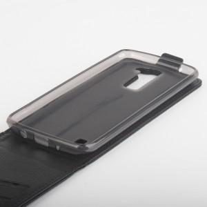 Чехол вертикальная книжка на силиконовой основе с магнитной застежкой с отделением для карт для LG K8