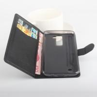 Чехол портмоне подставка на силиконовой основе с защелкой для LG K8 Черный