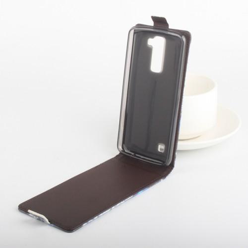 Чехол вертикальная книжка на силиконовой основе с магнитной застежкой и полноповерхностным принтом для LG K8