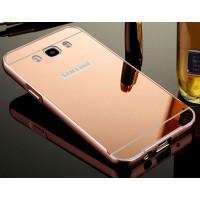 Гибридный металлический двухкомпонентный чехол и поликарбонатной крышкой с зеркальным покрытием для Samsung Galaxy J5 (2016) Розовый