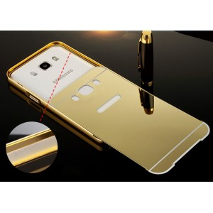 Гибридный металлический двухкомпонентный чехол и поликарбонатной крышкой с зеркальным покрытием для Samsung Galaxy J5 (2016) Бежевый