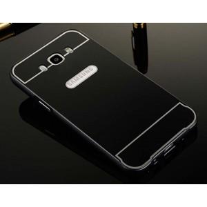 Двухкомпонентный чехол с металлическим бампером и поликарбонатной накладкой для Samsung Galaxy J5 (2016) Черный