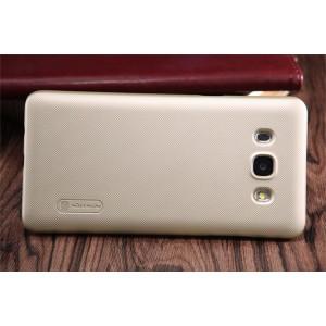 Пластиковый матовый нескользящий премиум чехол для Samsung Galaxy J5 (2016) Бежевый