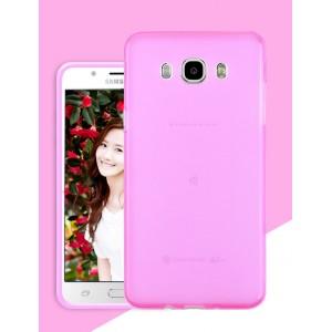 Силиконовый матовый полупрозрачный чехол для Samsung Galaxy J5 (2016) Розовый