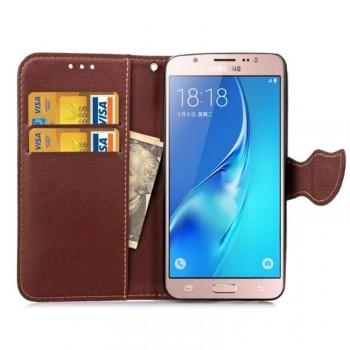 Текстурный чехол портмоне подставка с дизайнерской застежкой на силиконовой основе для Samsung Galaxy J5 (2016)
