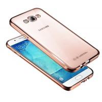 Силиконовый матовый полупрозрачный чехол текстура Металлик для Samsung Galaxy J5 (2016) Розовый