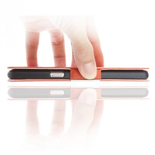 Кожаный чехол флип подставка на пластиковой основе с окном вызова и свайпом для Samsung Galaxy J5 (2016)