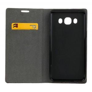Текстурный чехол флип подставка на силиконовой основе с отделением для карты для Samsung Galaxy J5 (2016) Черный