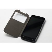 Чехол флип подставка на пластиковой основе с окном вызова для Doogee X6 Черный