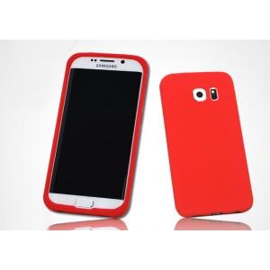 Силиконовый матовый нескользящий софт-тач премиум чехол для Samsung Galaxy S7 Edge Красный